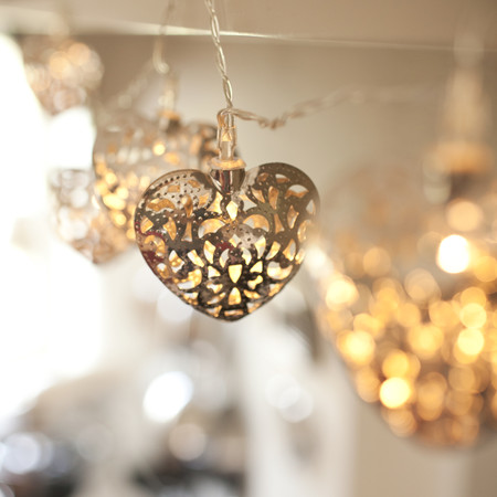 10 Led Silver Filigree Heart Battery Operated Fairy Lights